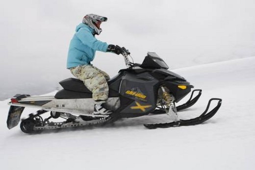 Stock Photo: 4029R-439443 snowmobile adventure tour in Whistler British Columbia