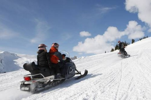 Stock Photo: 4029R-439627 snowmobile adventure tour in Whistler British Columbia