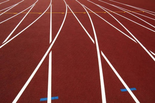 Running track in a stadium, Beijing, China : Stock Photo