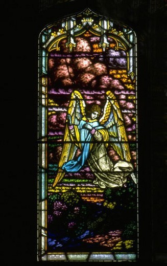 Stock Photo: 4029R-440995 Angel flying stained glass window