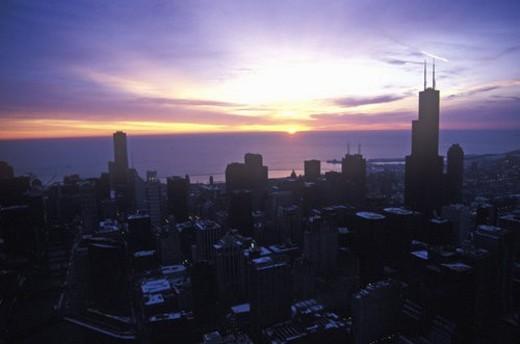 Chicago Skyline at Sunrise : Stock Photo