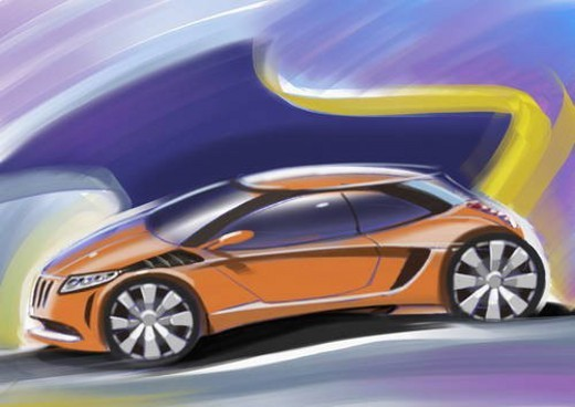 Orange sports car with blue and yellow background : Stock Photo