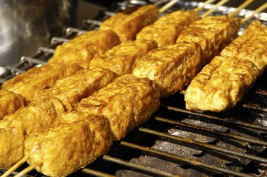 Stock Photo: 4029R-44242 Close-up of grilled tofu skewers