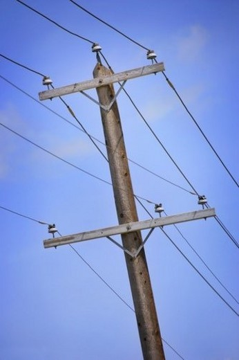 Power pole and lines : Stock Photo