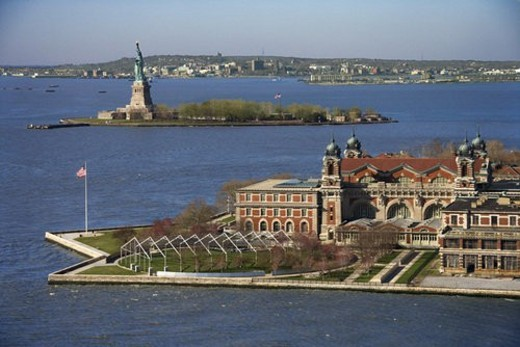 Stock Photo: 4029R-443832 Aerial view of Ellis Island with Statue of Liberty, New York City.