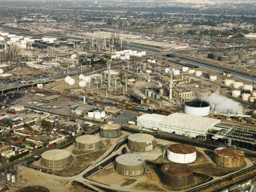 Stock Photo: 4029R-444200 Aerial view of liquid storage tanks in Los Angeles California oil refinery.