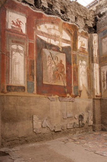 Stock Photo: 4029R-444984 In the shadow of Vesuvius, the ruins of Ercolano  - Hall of the Augustals, with frescoed walls