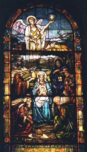 Three wise men Mary baby Jesus and angel on stained glass : Stock Photo
