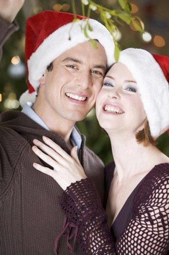 A couple kissing beneath the mistletoe : Stock Photo