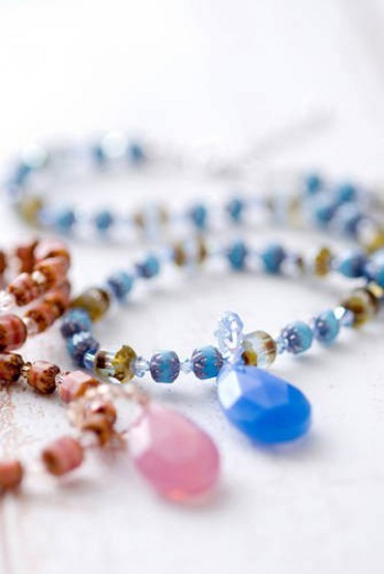 Beaded necklace and pendant : Stock Photo