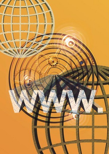 web address and globes, CG, composition : Stock Photo