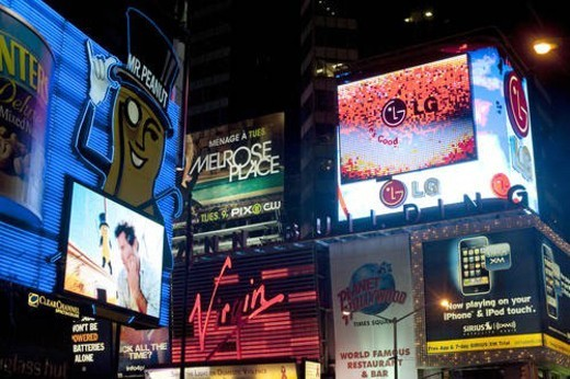 Stock Photo: 4029R-462347 Neon signs in Times Square Manhattan, New York City, U.S.A.