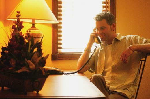 Stock Photo: 4029R-463180 Man on telephone