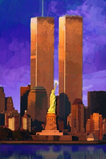 Photo Impression: World Trade Center behind Statue of Liberty : Stock Photo