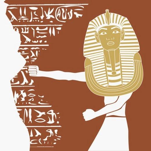 Stock Photo: 4029R-49071 Person wearing a mask of Tutankhamen
