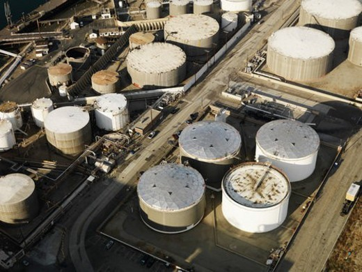 Stock Photo: 4029R-50019 Aerial view of liquid storage tanks in Los Angeles California oil refinery.