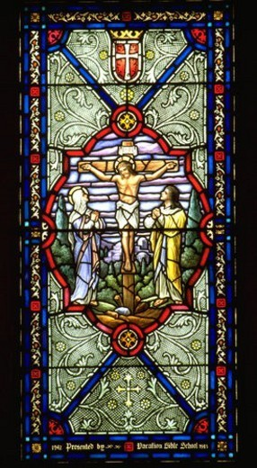 Stock Photo: 4029R-51416 Stained glass window of Jesus on the Cross