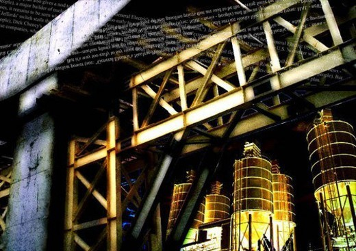 Text superimposed on an industrial installation : Stock Photo