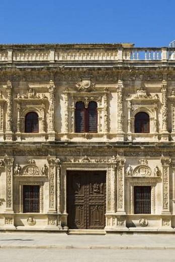 Stock Photo: 4029R-54396 The facade of Seville Town Hall, Ayuntamiento de Sevilla, Seville, Andalucia, Spain