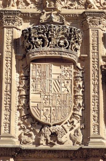 Spain, Castilla Leon, Salamanca, Sculpt, Sculpted, Coat of arms, Heraldry : Stock Photo