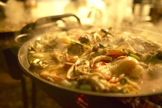 Close-up of a Paella. Tokyo Prefecture, Japan : Stock Photo