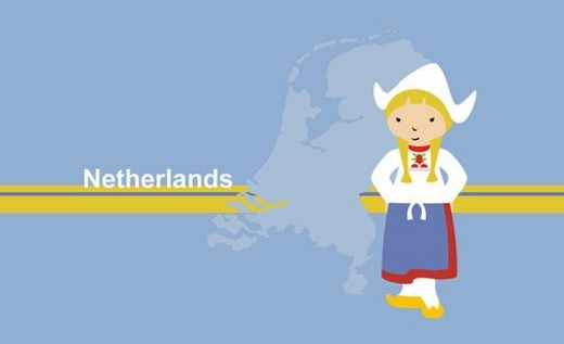 Girl wearing traditional clothing in front of the map of Netherlands : Stock Photo