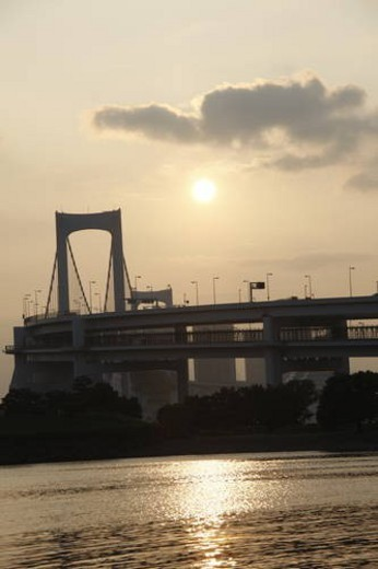Stock Photo: 4029R-57595 Silhouette of Rainbow Bridge in the evening, Tokyo prefecture, Japan
