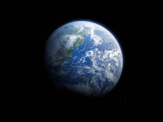 Stock Photo: 4029R-57864 The earth, computer graphic, black background