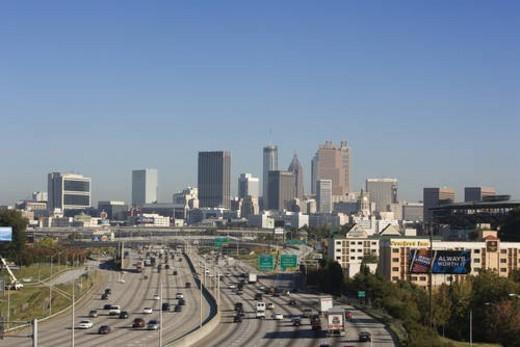 Traffic on Multi-Lane Freeway : Stock Photo