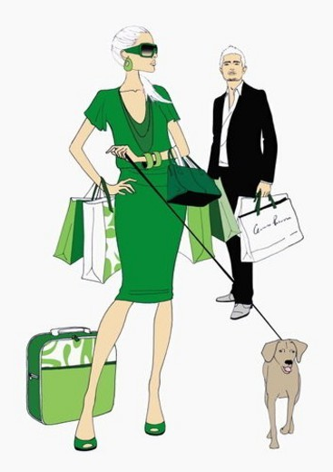 Couple with shopping bags and a dog : Stock Photo