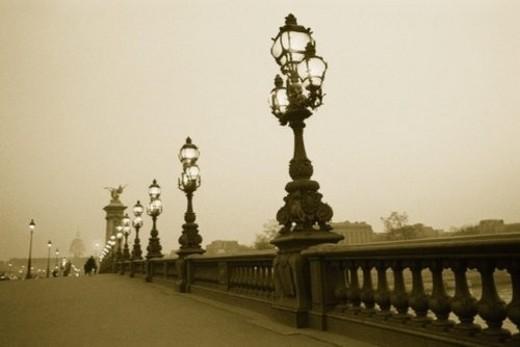 Image of a Decorative Bridge in Paris Under a Grey Sky, Side View, Paris, France : Stock Photo