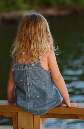 Rear view of a young girl sitting on a wooden railing : Stock Photo