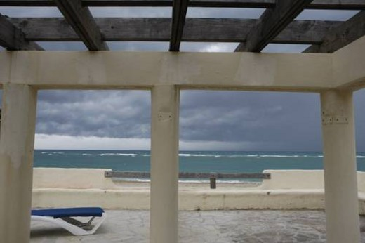 Stock Photo: 4029R-60070 Tropical storm on a beach