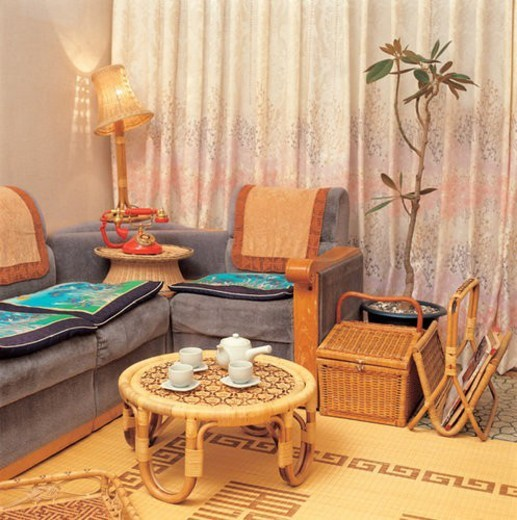 Stock Photo: 4029R-60137 flowerpot, table, tea ceremony, livingroom, chair, tree, sofa