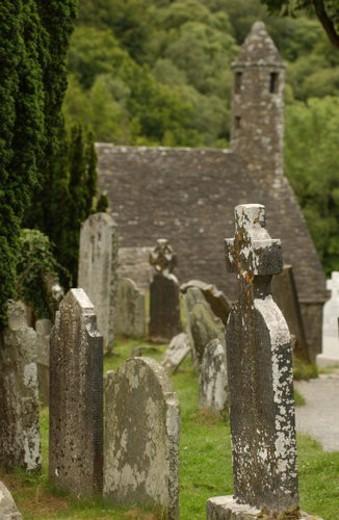 Stock Photo: 4029R-60173 Ireland -  Glendalough cemetery