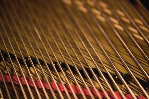Stock Photo: 4029R-60639 Close up of piano strings