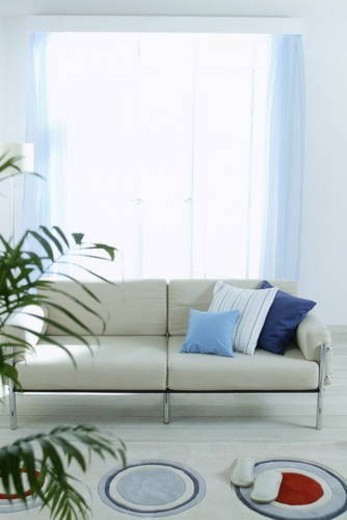 Stock Photo: 4029R-61164 Living room with beige sofa