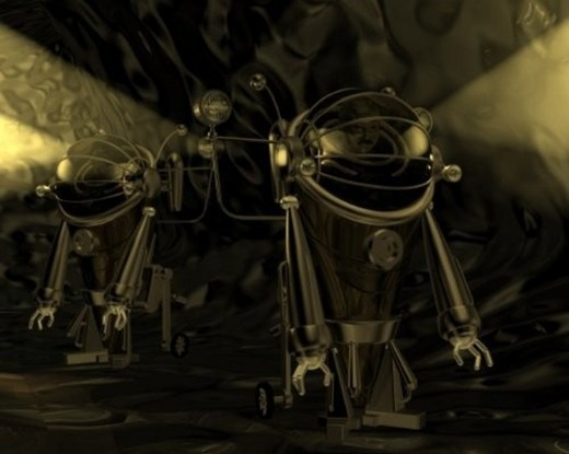 Exploring Robots, Illustration, CG, 3D, Sepia, Close Up : Stock Photo