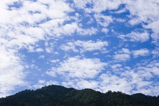 A blue sky and clouds, Agematsu-machi, Nagano Prefecture, Japan : Stock Photo