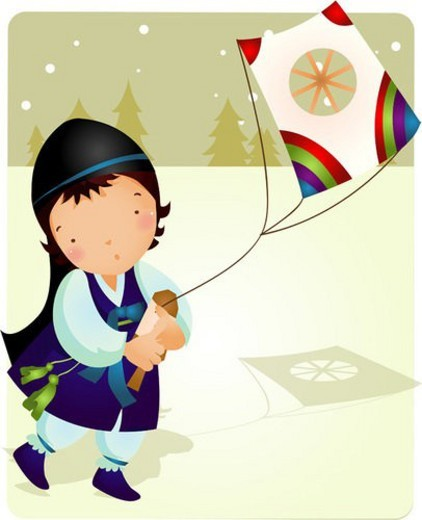 Stock Photo: 4029R-61905 fun, traditional korean dress, pine tree, snowing, snowfield, outdoors