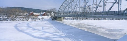 Bridge into New Hampshire from Vermont : Stock Photo