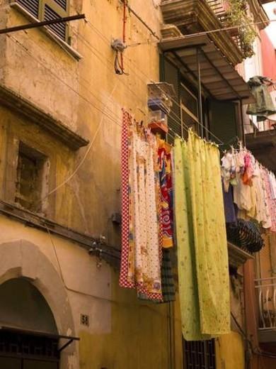Laundry drying, Naples, Italy : Stock Photo