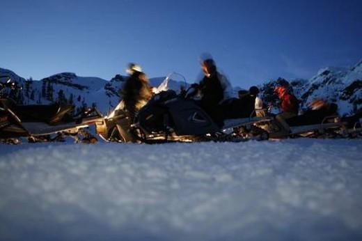Stock Photo: 4029R-65739 snowmobile adventure tour in Whistler British Columbia