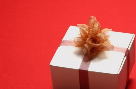 Gift box with ribbon, close-up : Stock Photo