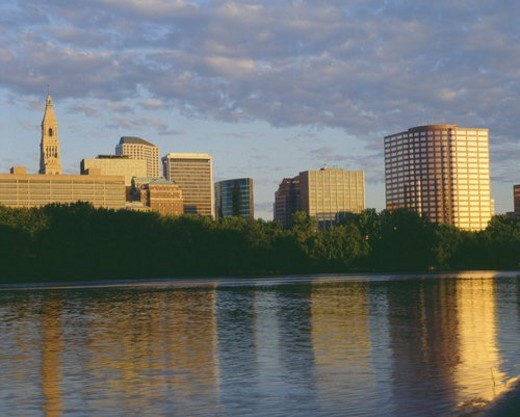 Stock Photo: 4029R-7105 Hartford skyline at sunrise