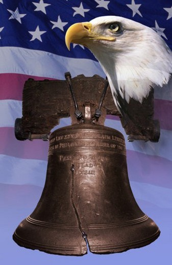 Stock Photo: 4029R-72528 Photo montage: Liberty Bell, American eagle, American flag