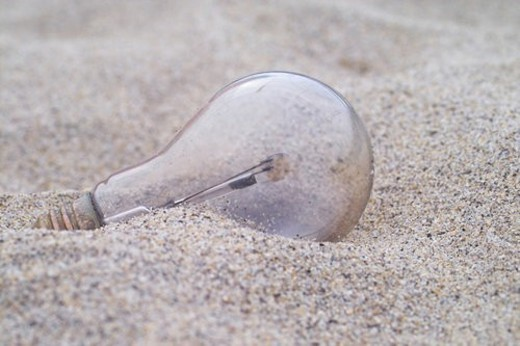 sand, electric bulb, house item, lightbulb : Stock Photo