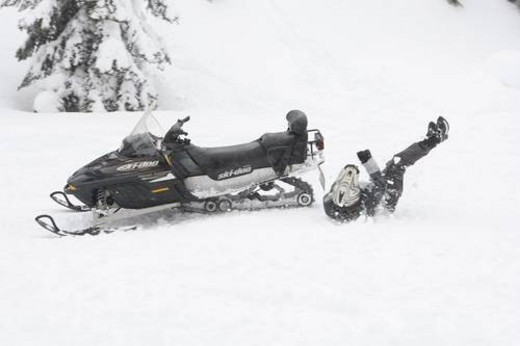 Stock Photo: 4029R-72758 snowmobile adventure tour in Whistler British Columbia
