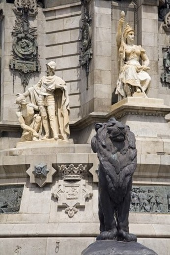 Columbus Monument detail, La Rambla Street, City of Barcelona, Spain : Stock Photo