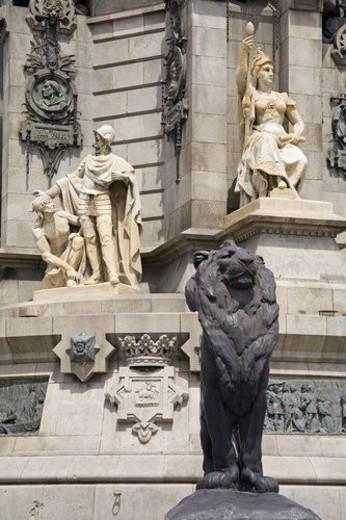 Stock Photo: 4029R-73229 Columbus Monument detail, La Rambla Street, City of Barcelona, Spain